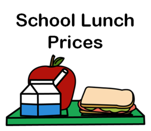 photo of sandwich with school lunch price text
