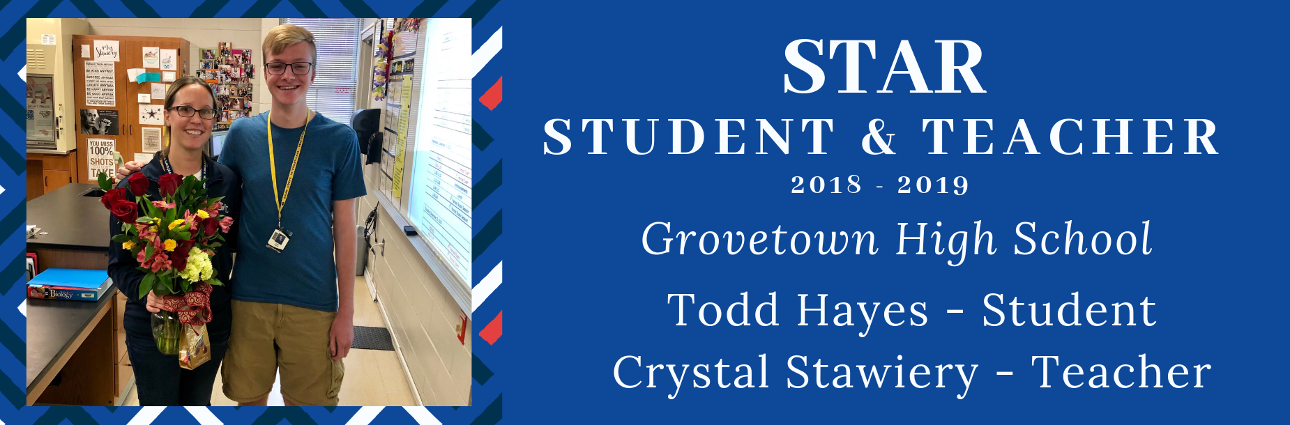 Grovetown High School STAR student Todd Hayes with STAR teacher Crystal Stawiery