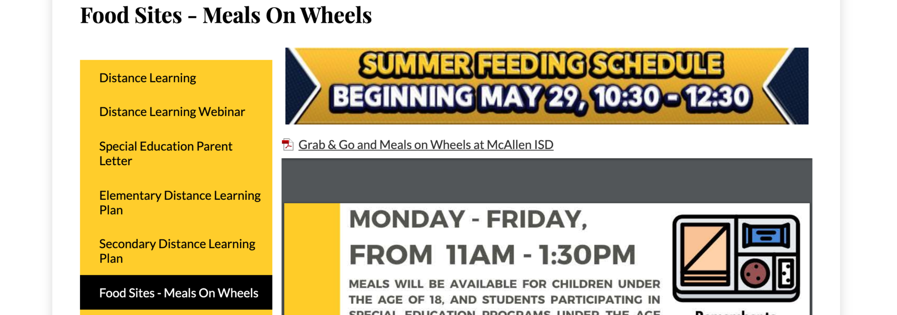 Food Sites Meals on Wheels Monday - Friday 11 - 1:30 PM
