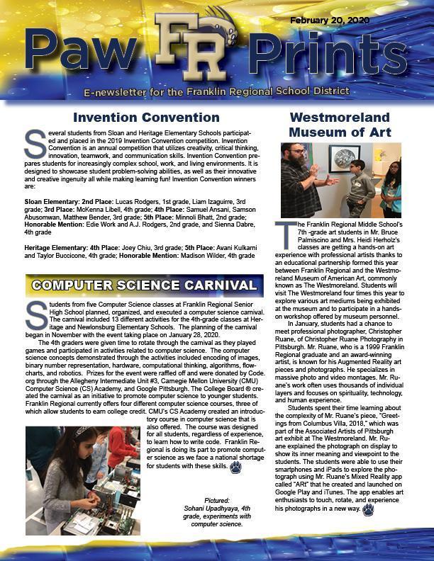 PawPrints eNewsletter 2.20.20