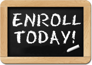 a chalk board with the words enroll today written in chalk