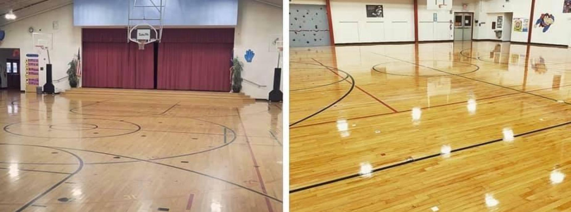 Gym Floor - Before and After!