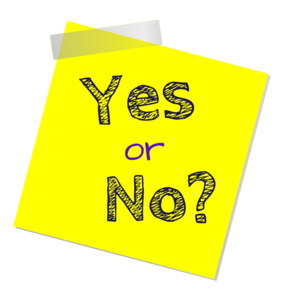 sticky note with yes or no