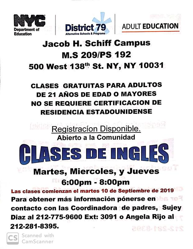 Flyer for English Classes in Spanish