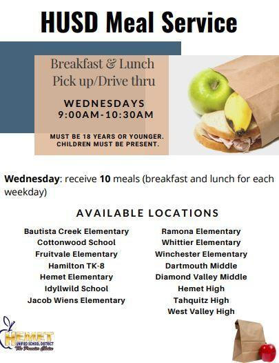 Meals will be distributed from 9-10:30 on Wednesdays