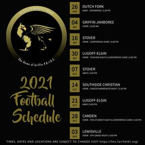 Dates and locations of 2021-2022 FMS football games