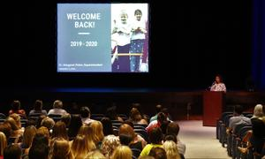 Westfield education association president welcomes staff during opening day ceremony.