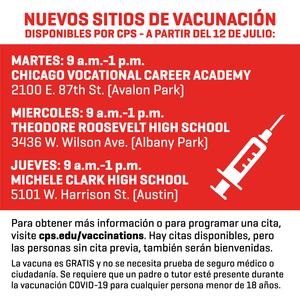 Nuevos sitios de vacunación disponibles por CPS - a partir del 12 de julio