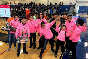 Holland Middle School has expanded its robotics program to include three competitive teams: The A Team is a six-member all-female eighth-grade team; B Team consists of seven eighth-graders; X Team is made up of five underclassmen. Teams B and X will compete in the Robotics League Finals Saturday, Jan. 26 at Pico Rivera STEAM Academy.