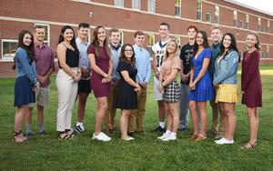 Members of Mars Area High School's 2019 Homecoming Court are (from left) Sydney Barshick, Max Lamm, Olivia Lockette, Mason Koma, Maddie Mueller, Jacob Jedry, Alyssa Machi, Connor McChesney, Mitchell Wright, Sarah Eperesi, Jathan Snavely, Julia McCarty, Hayden Silsby, Hope Lampenfeld, Brooke Dean and (not pictured) Joseph Craska.