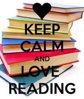 Picture of books that says Keep Calm and Read