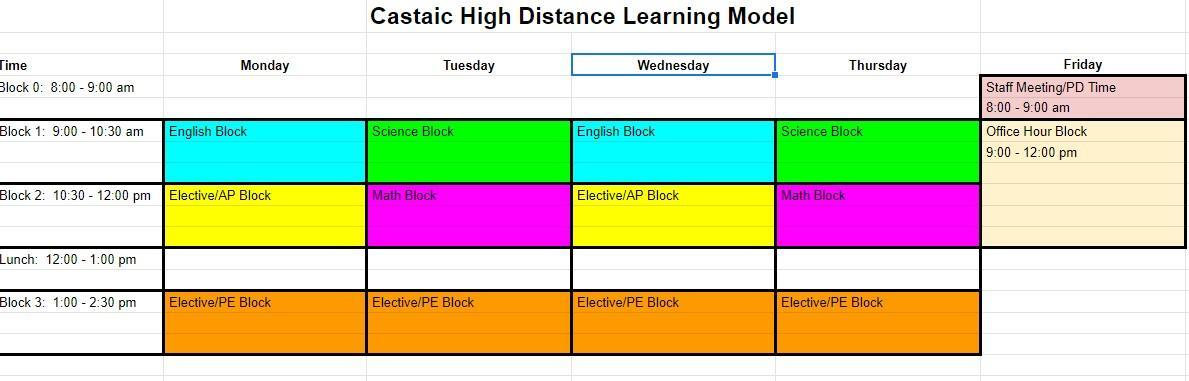 Castaic High Distance Learning Schedule