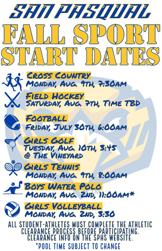 Fall Sport Start Dates Thumbnail Image
