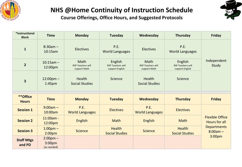 NHS @HomeContinuity ofInstruction Schedule Featured Photo