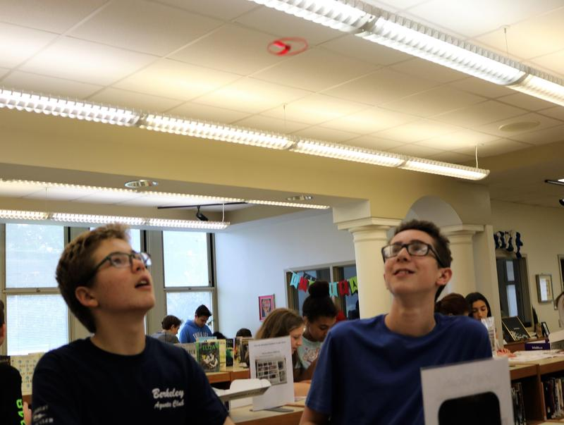 Two students at Roosevelt Intermediate School test snap circuitry invention in school's Makerspace.