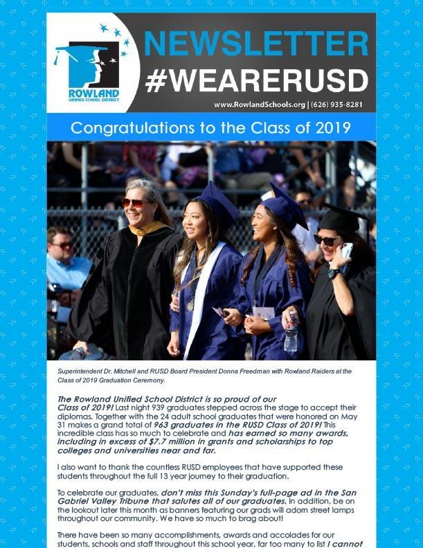 RUSD News Graduation Special Issue Part 1 - Class of 2019 Thumbnail Image