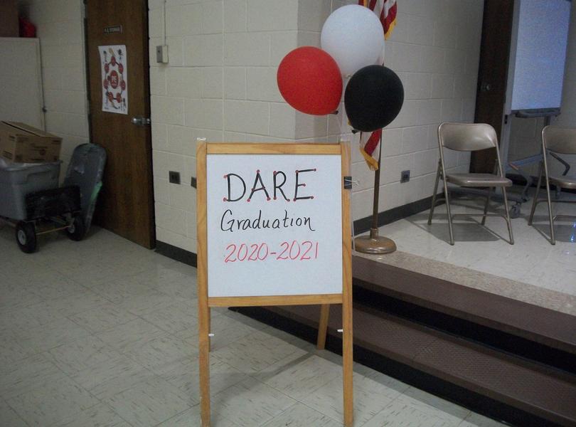 DARE Graduation sign.
