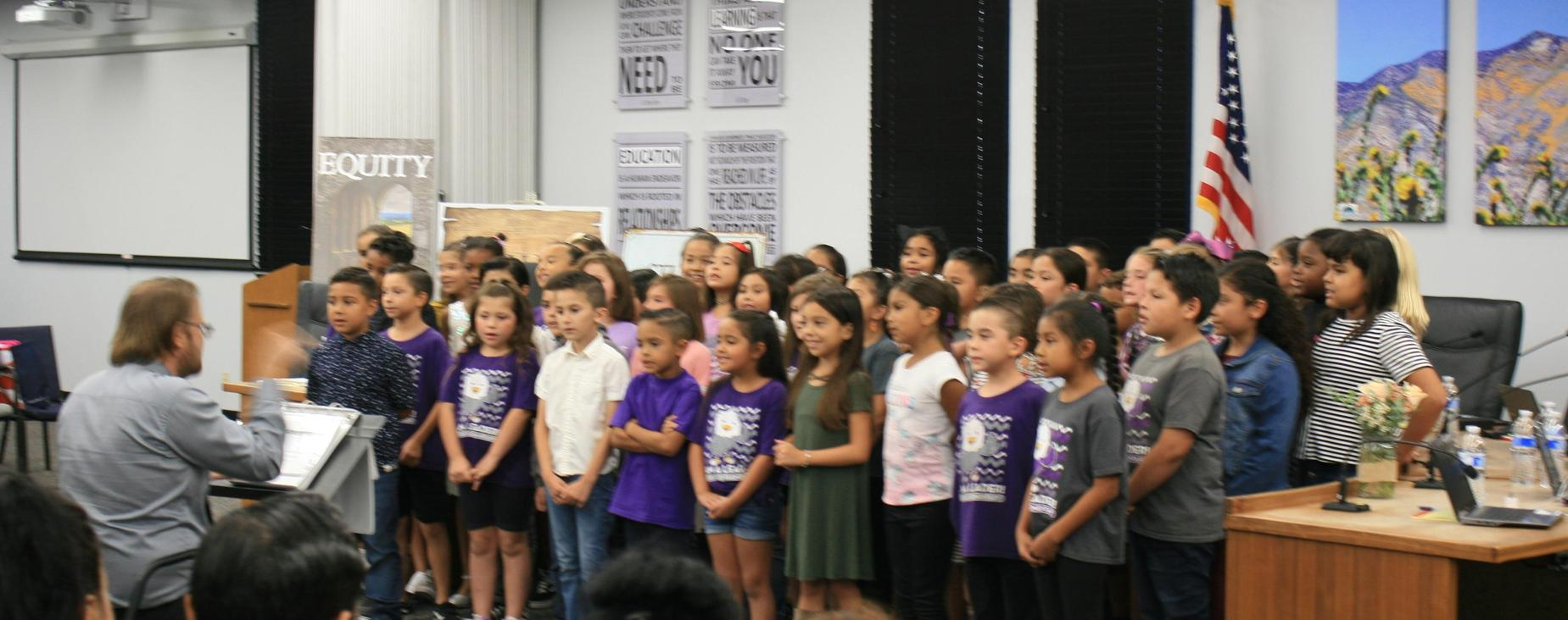 Singing Eagles from the Nest at Estudillo Elementary, our Leader in Me elementary school, at SJUSD September Board Meeting.