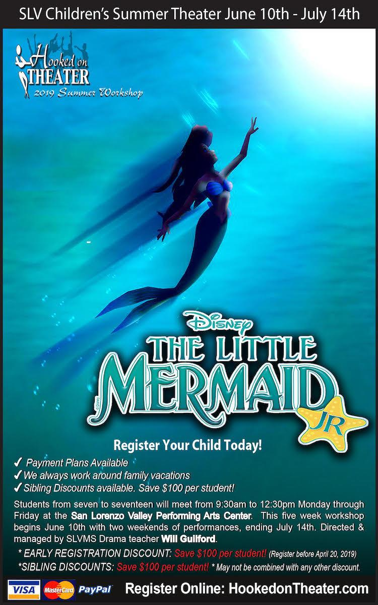 slv children's summer theater the little mermaid jr call 3354425 for details