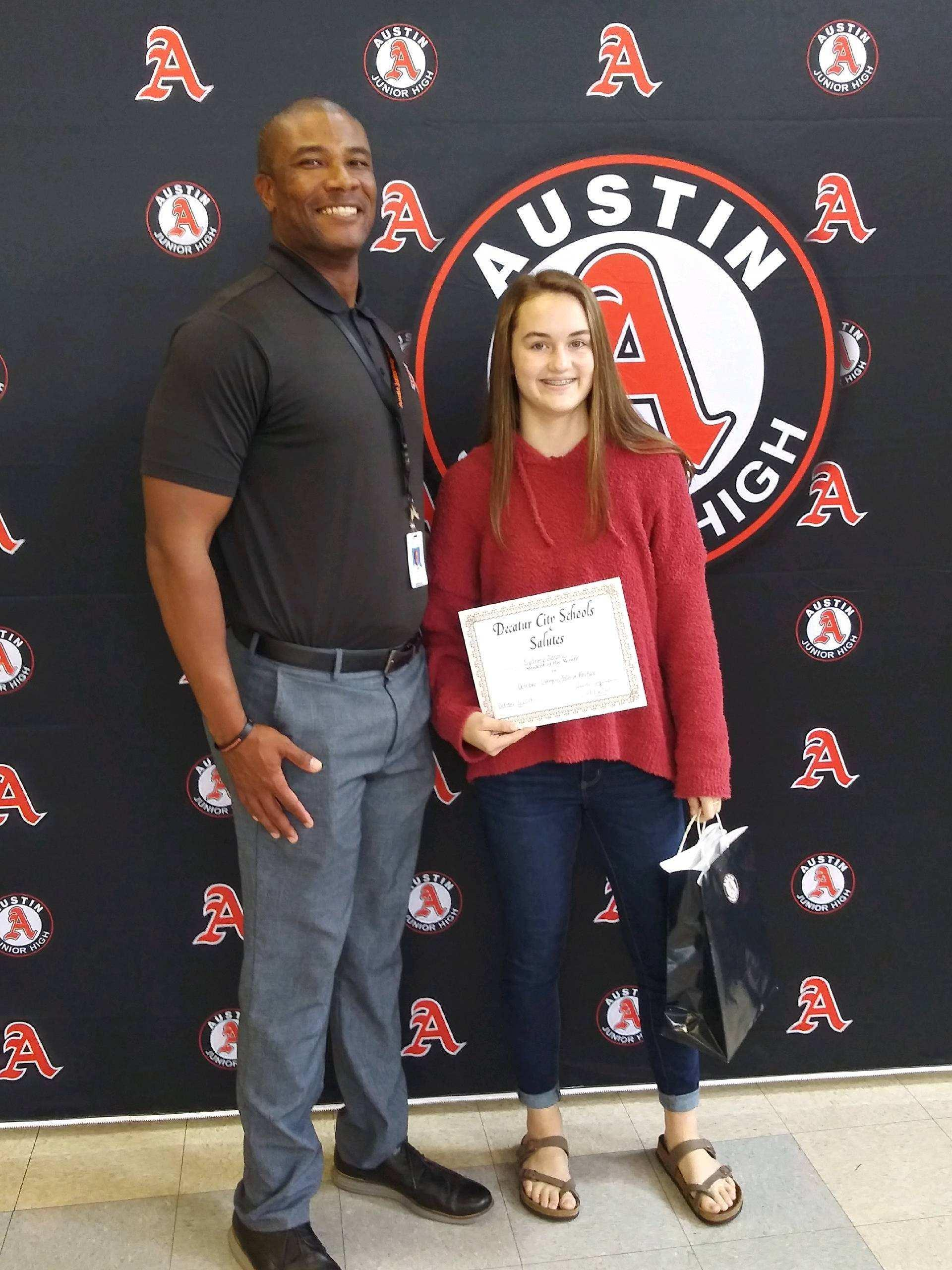Student of the Month for Positive Attitude