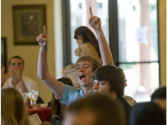 Students at the first ever Senior breakfast in 2012
