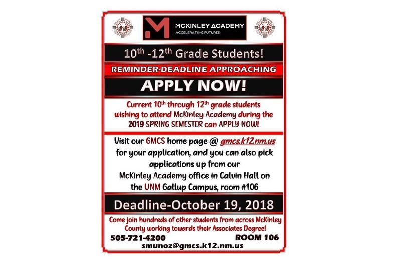 McKinley Academy Reminder of deadline