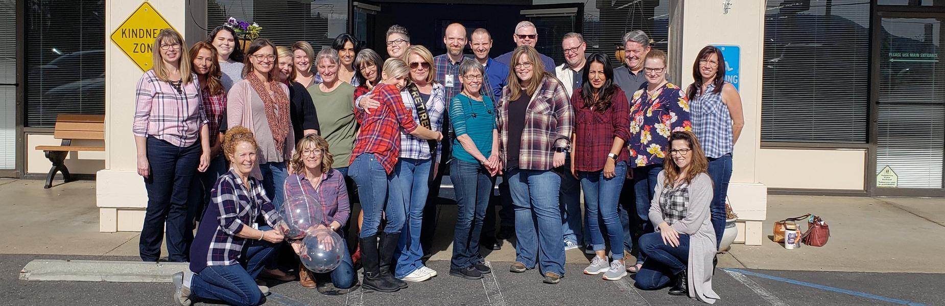 Flannel Friday Beth's Retirement Group Photo