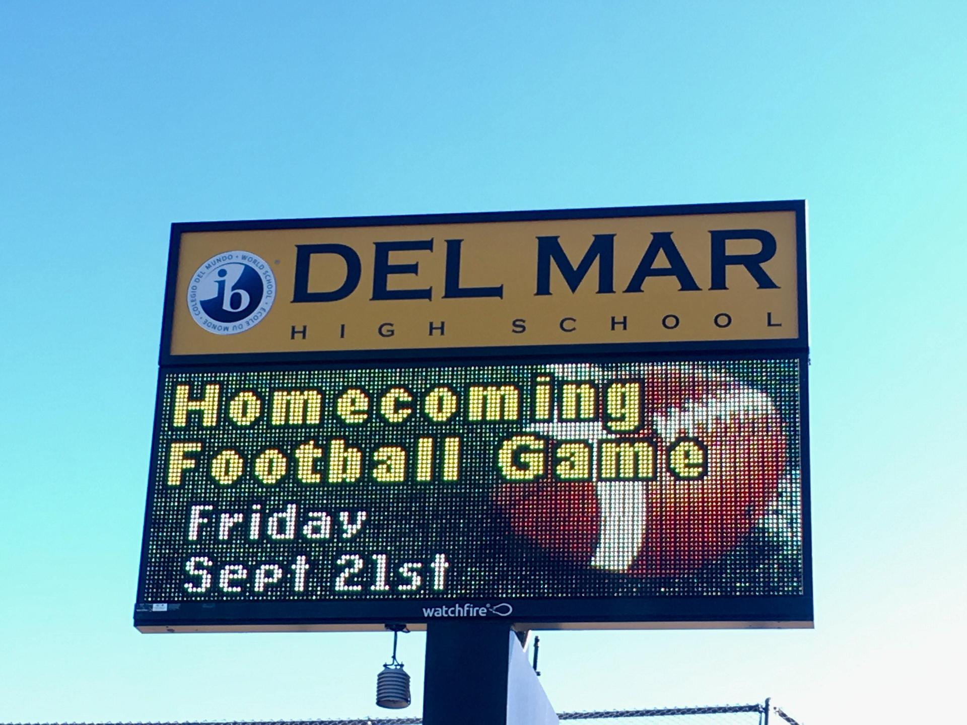 Image of new school marquee sign at Del Mar Avenue & Stokes Avenue