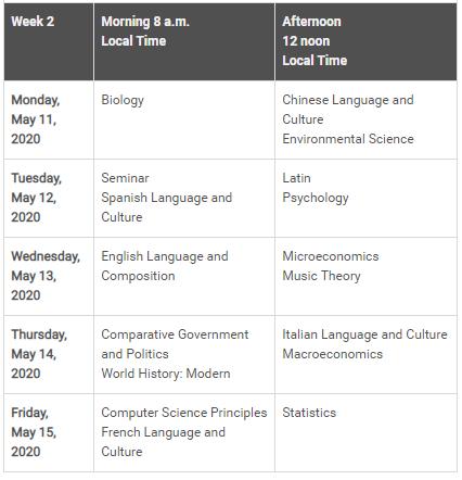 Exam Schedule - Week 2