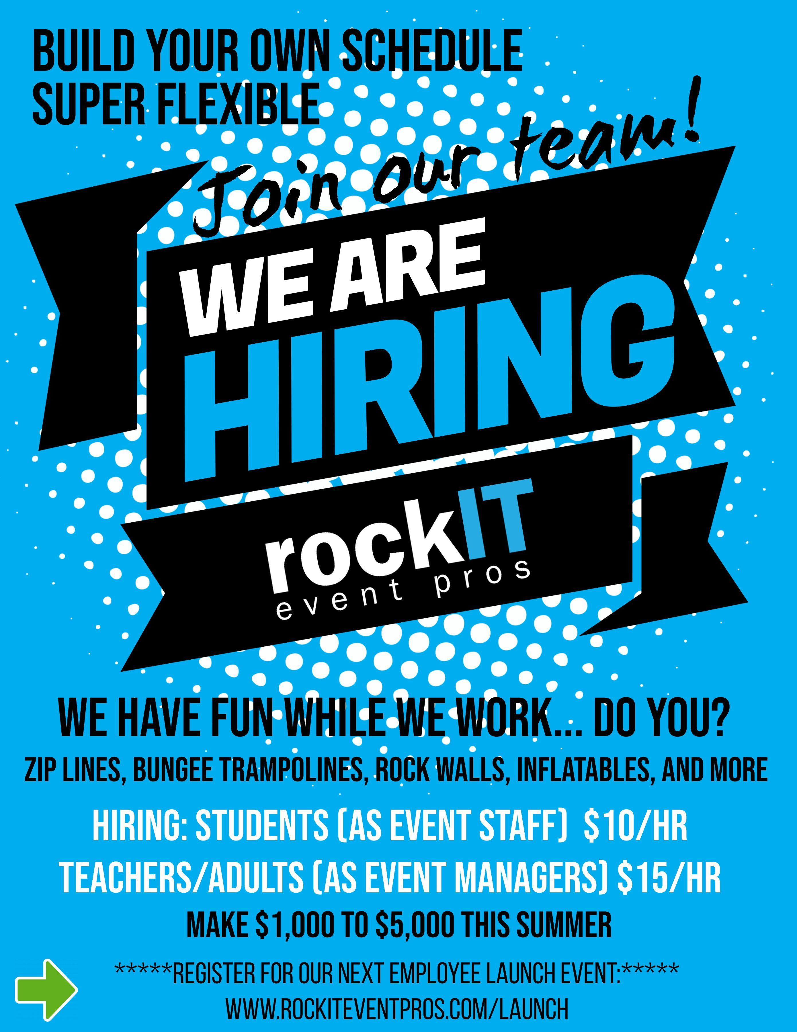 Rockit Event Pros Hiring for Summer