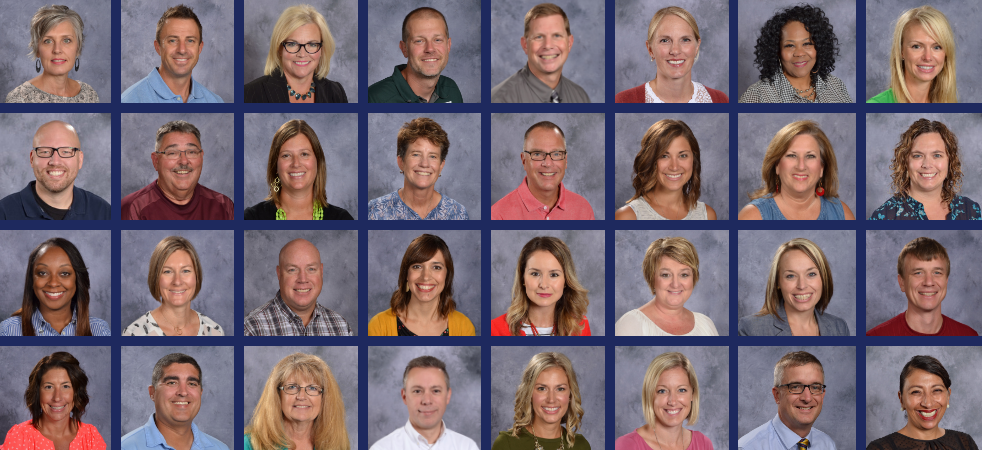 A collage of photos of teachers.
