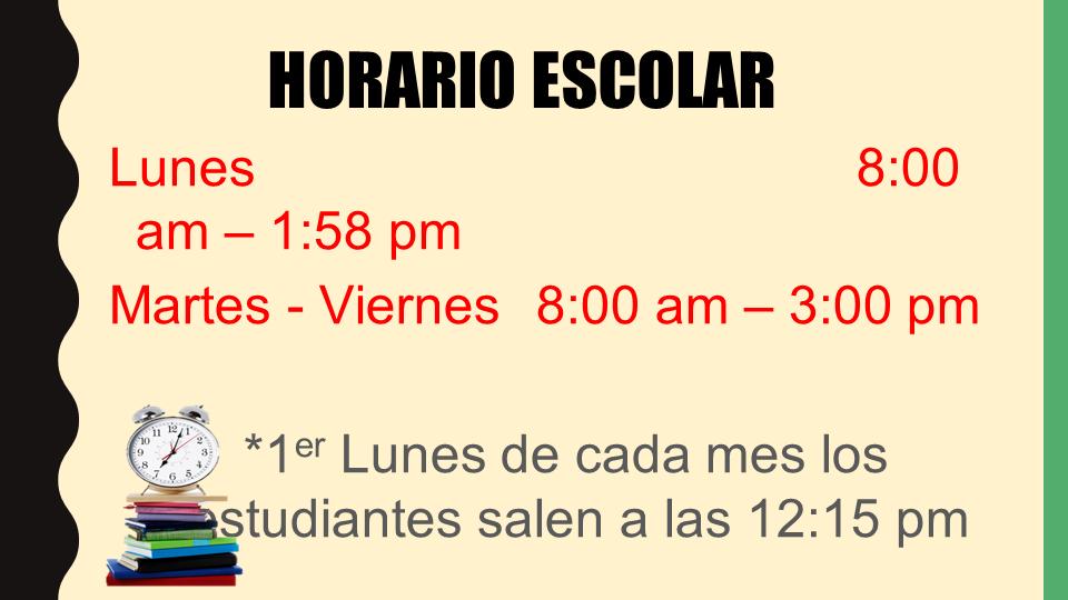School Day Schedule power point slide (Spanish)