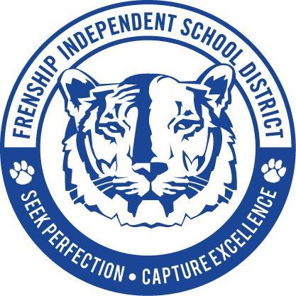 Frenship Independent School District Seek Perfection Capture Excellece School seal depecting a the School Mascot a Tiger and 2 paw prints