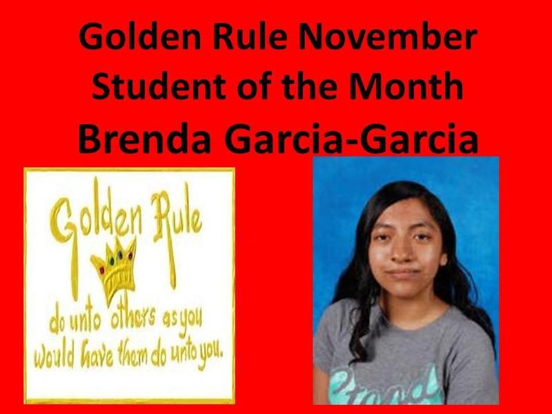 Brenda Garcia-Garcia Selected November Golden Rule Winner Featured Photo