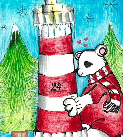 Polar bear hugging light house