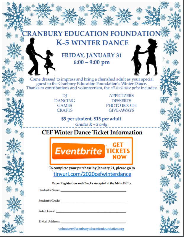 Advertisement flyer for Education Foundation Winter Dance