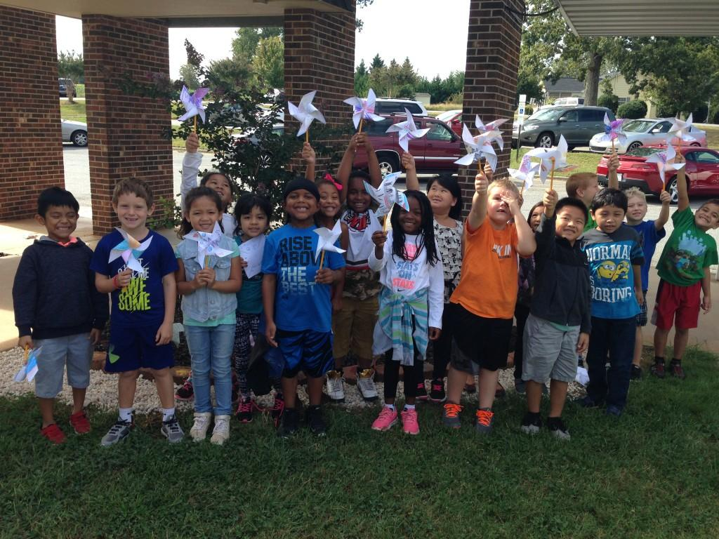 Mrs. Ryhal's class with their pinwheels
