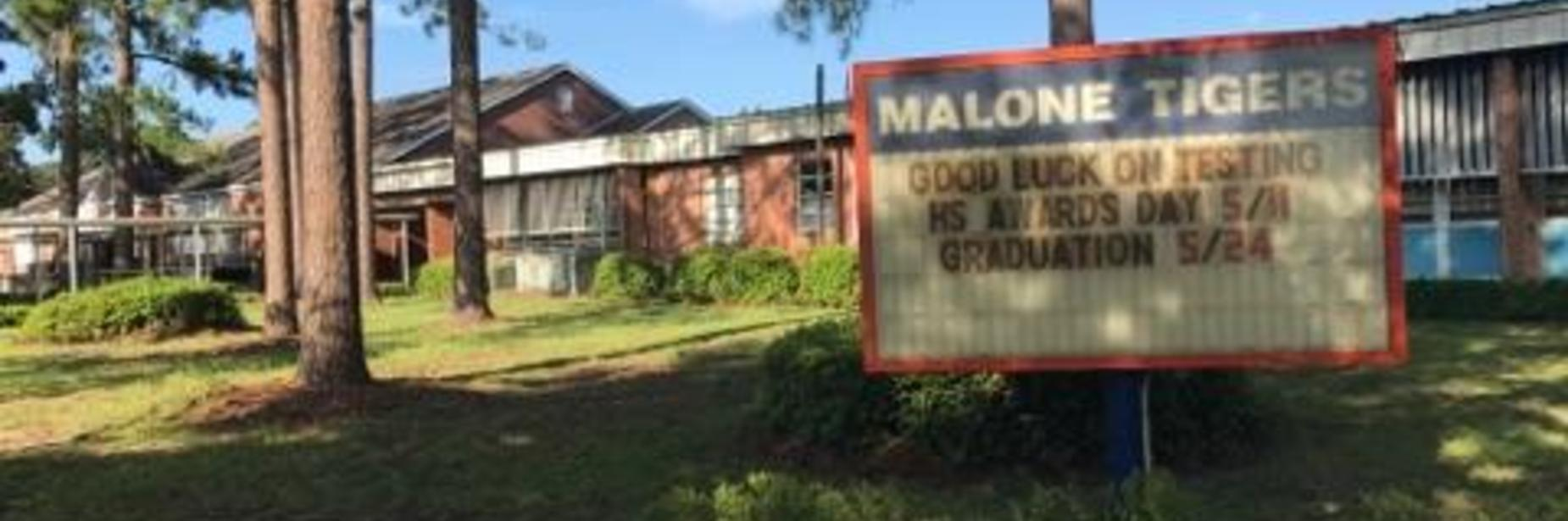 malone front of school