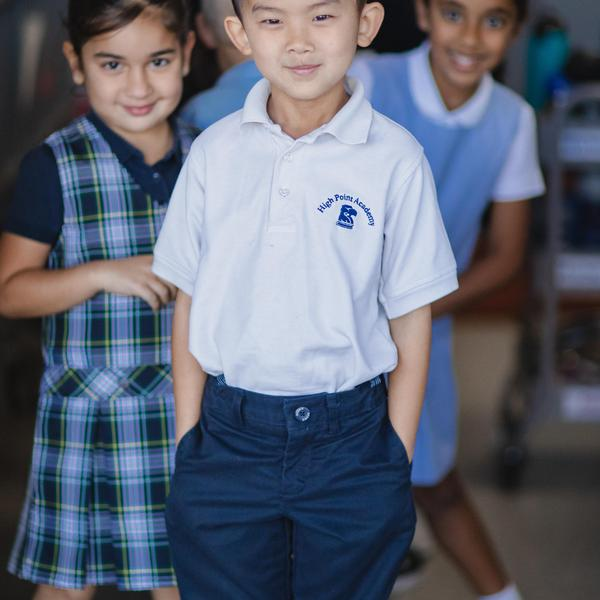 High Point Academy students in their uniforms.