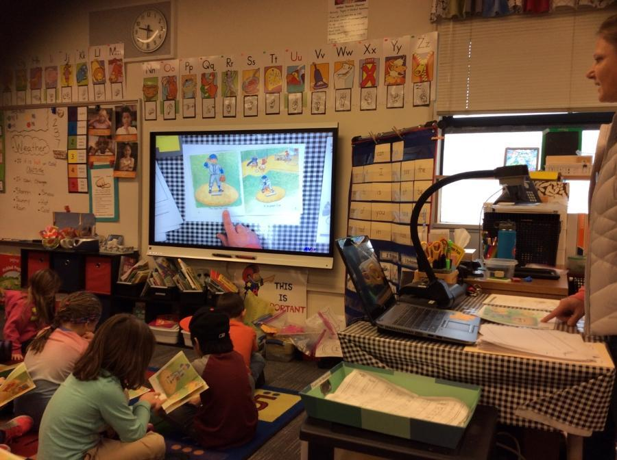 Teacher modeling reading strategies with students