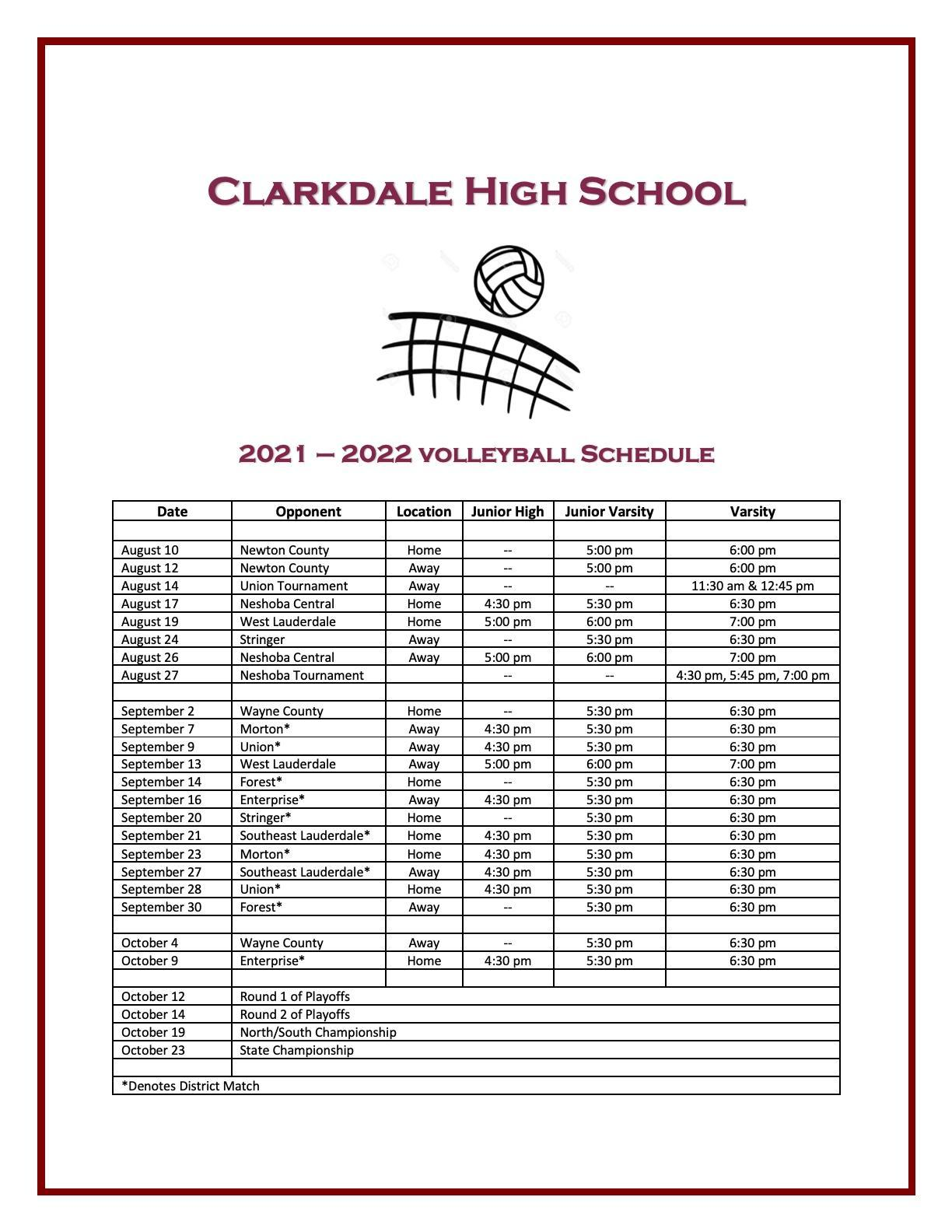 Volleyball Schedule for 2021