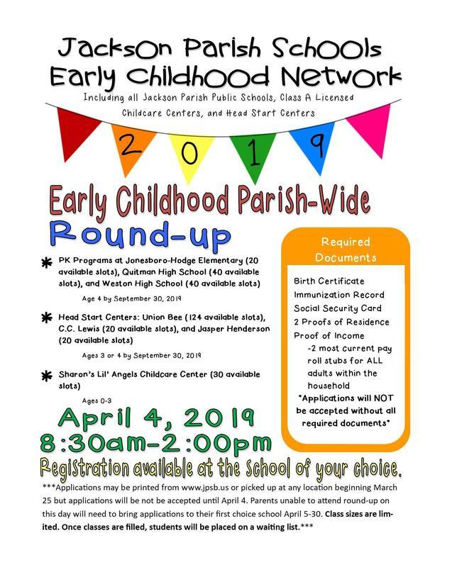 JACKSON PARISH SCHOOLS PRE-K Roundup Thumbnail Image