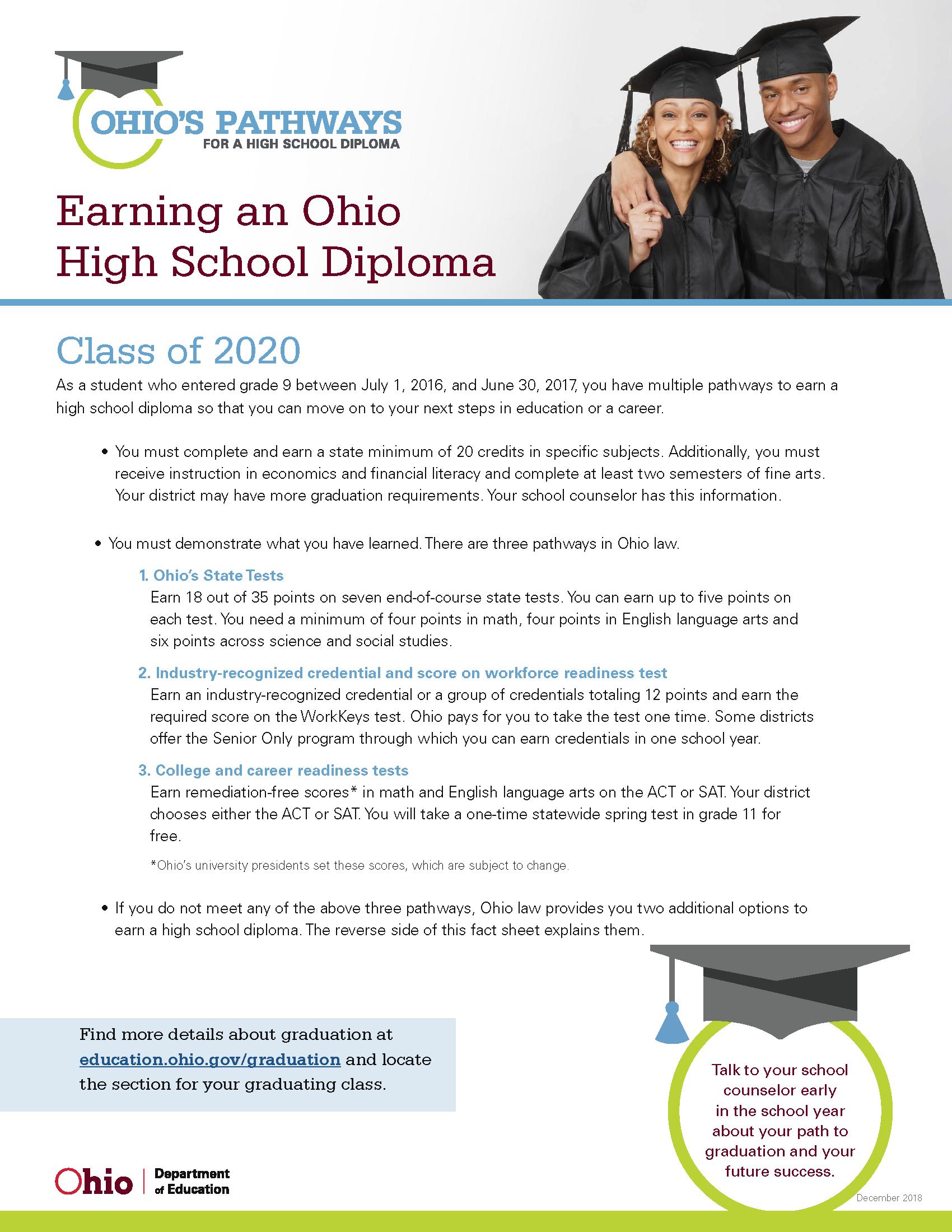 Ohio University Graduation 2020.Graduation Requirements Guidance Department Mt Healthy