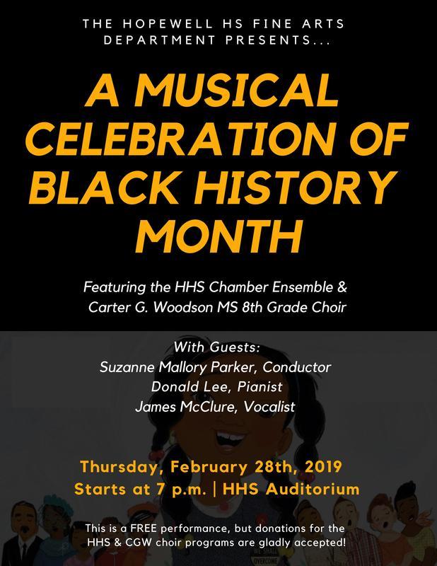 Black history month concert flyer.