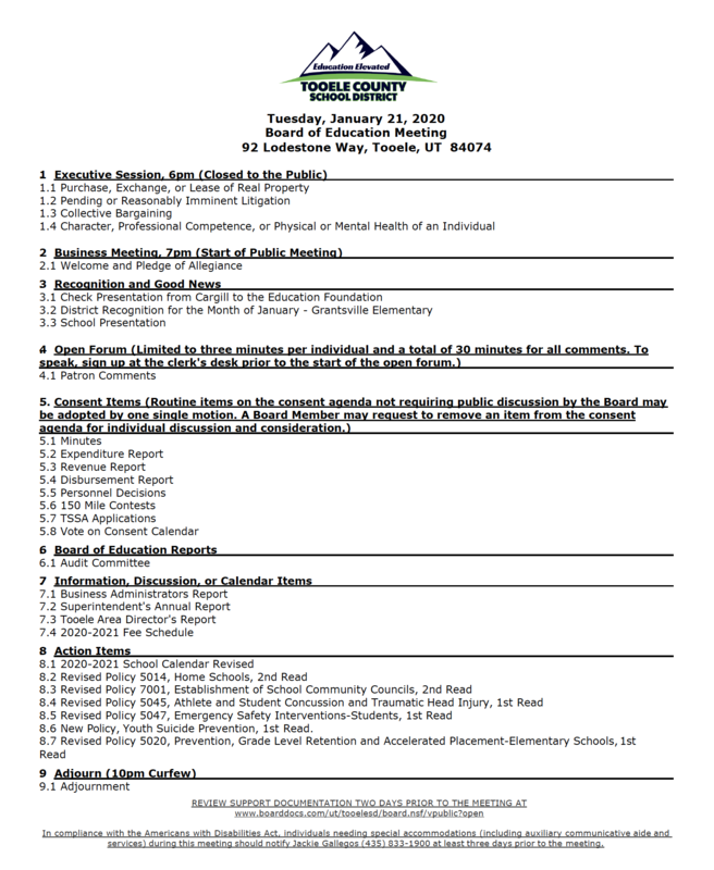 Board of education meeting agenda for Jan 21 2020
