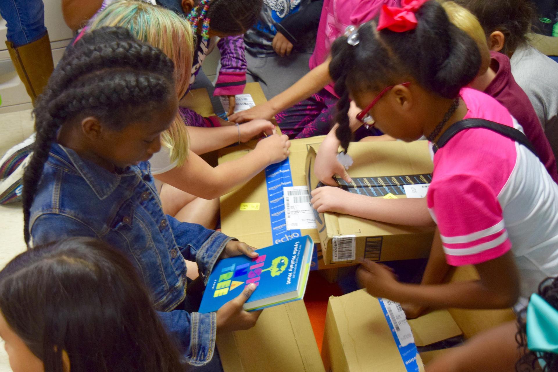 DonorsChoose book unboxing