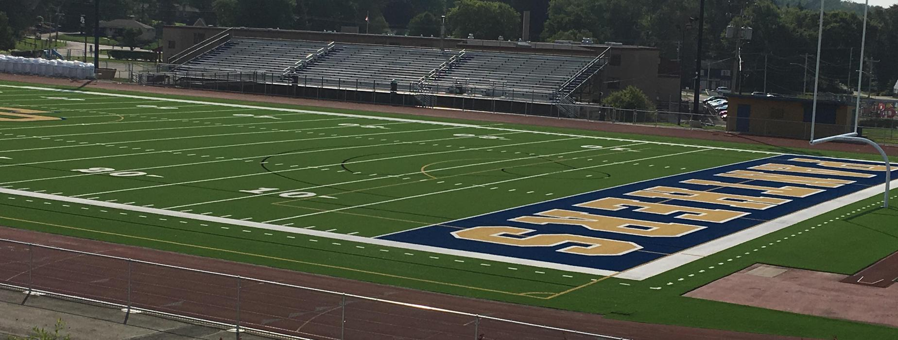 The new artificial turf field at Panther Stadium.