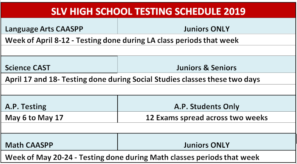testing schedule call 3354424 for information