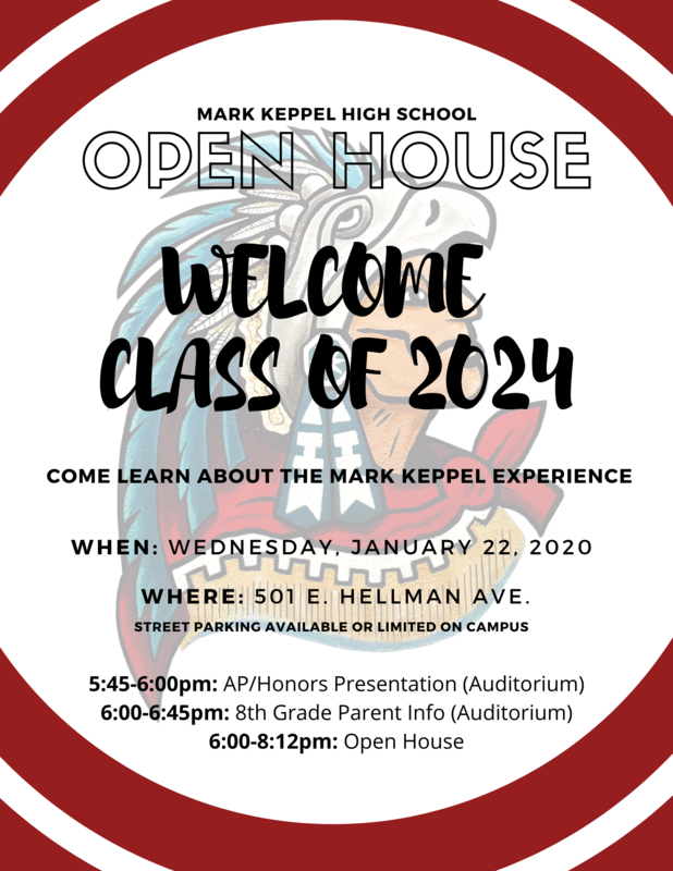 8th Grade - Class of 2024 - OPEN HOUSE -  January 22, 2020 Featured Photo