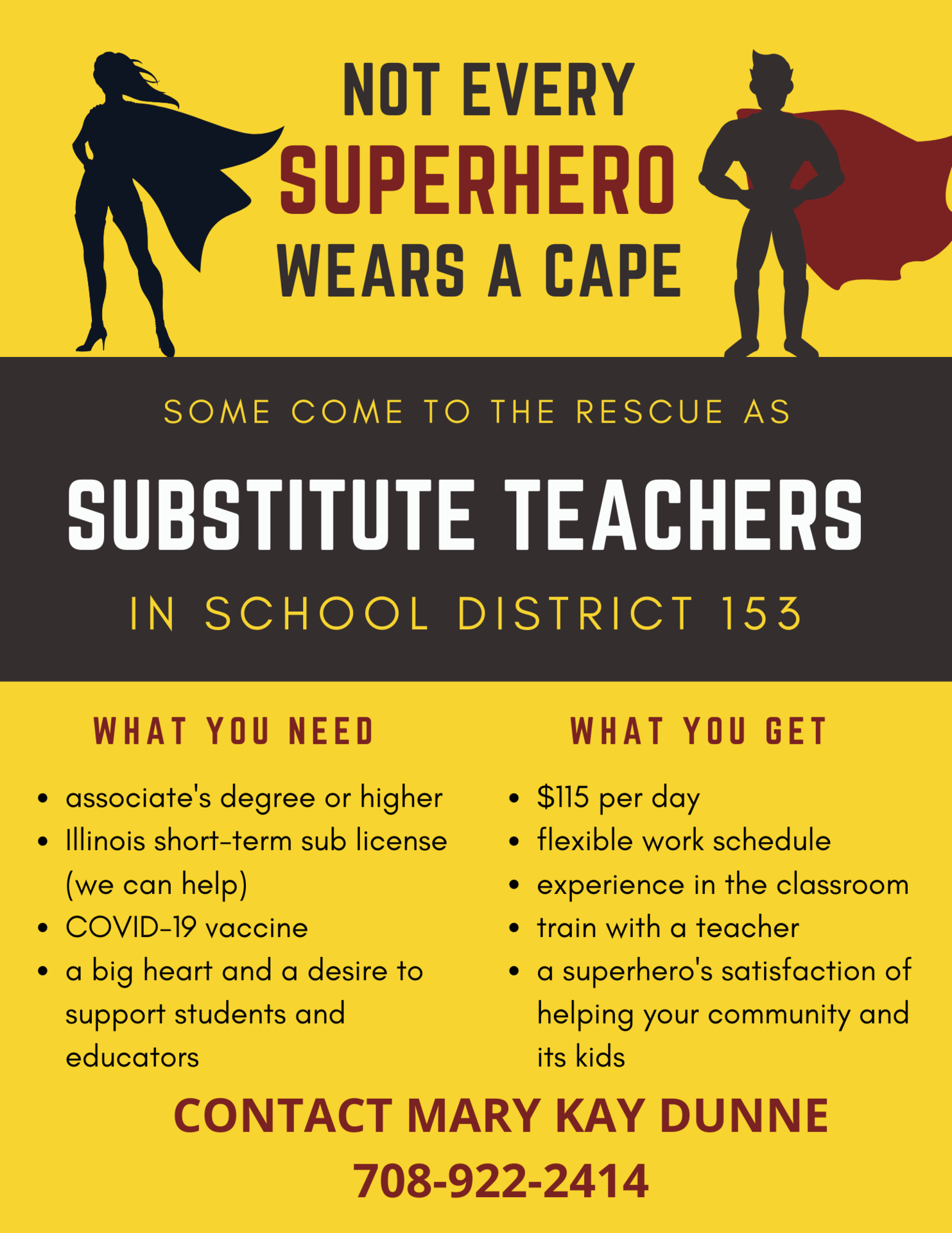 becoming a sub in District 153